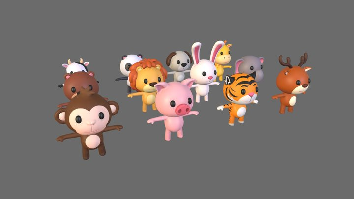 Cartoon Animal Pack 3D Model