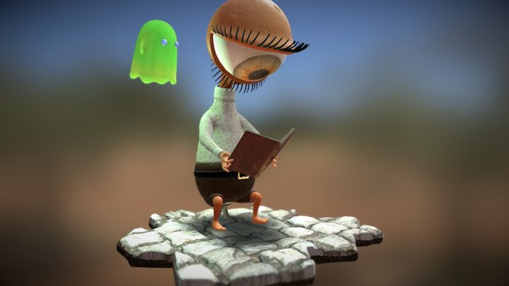 Character read a book with ghost 3D Model
