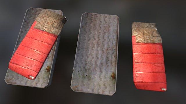 Old mattress and sleeping  bag 3D Model