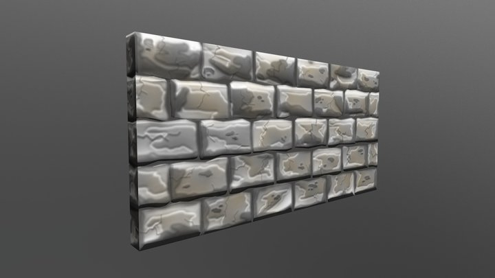 Hand Painted Rock Wall 3D Model