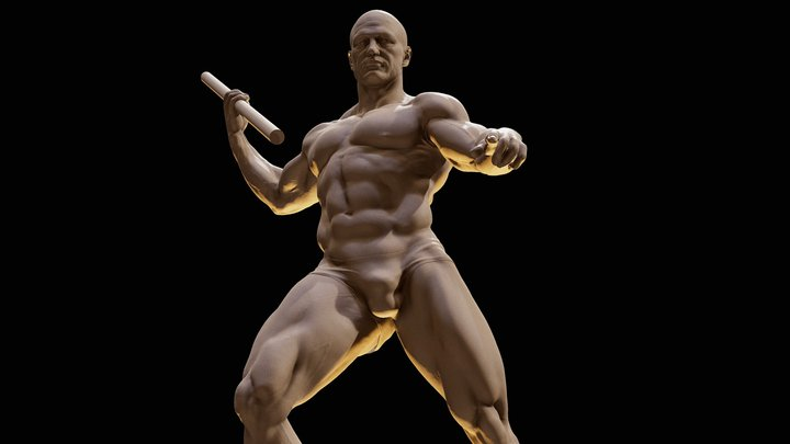 Standard male body-Poseidon pose 3D Model