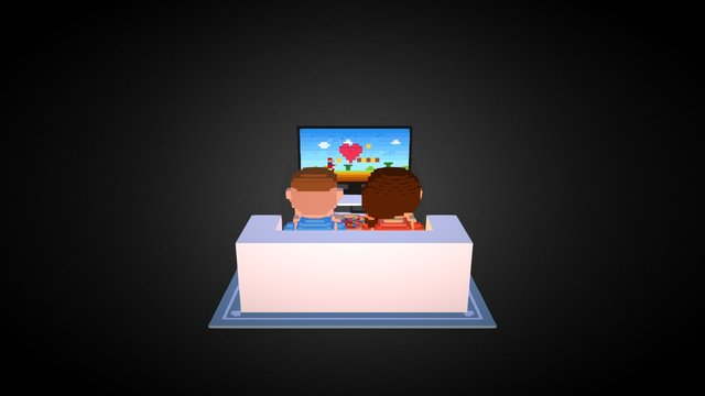 Gaming couple 3D Model