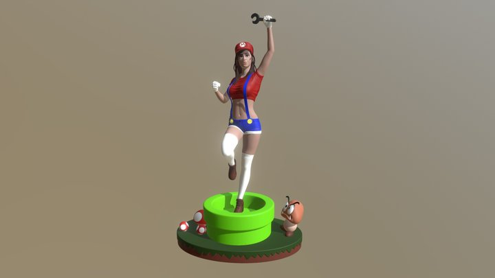 Super Mario Girl - Colored 3D Model