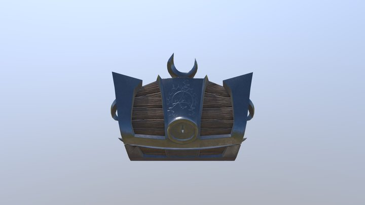 Treasure Chest with moon and ornaments 3D Model