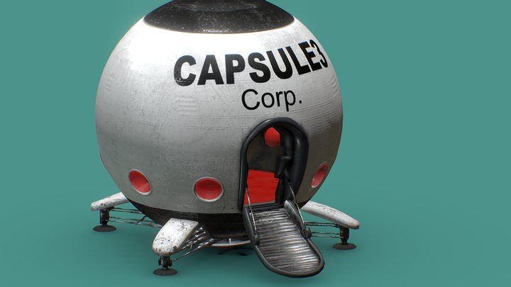 Capsule Corporation Spaceship - Mid-poly model 3D Model