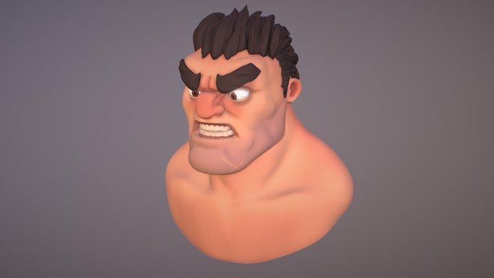 Pirate Head Cartoon by Alex Dema 3D Model