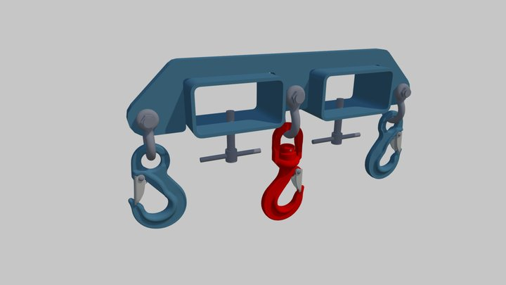 Axzion forklift cross-beam with 3 hooks 3D Model