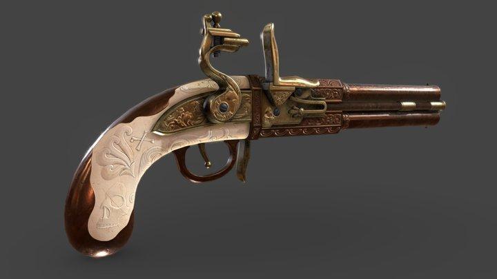 Double Barrel Flintlock Pistol 3D Model