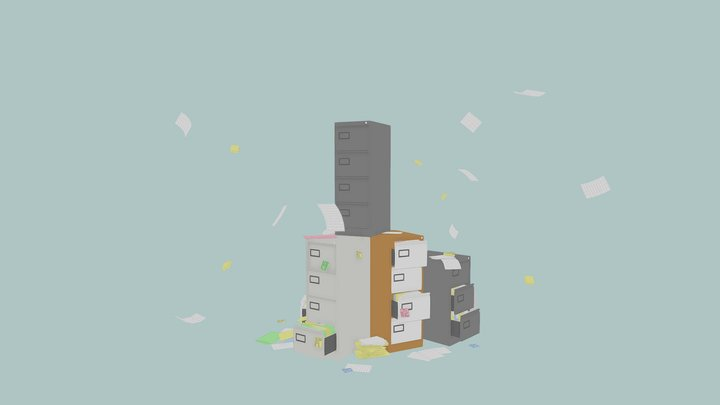 Low Poly Filing Cabinets 3D Model