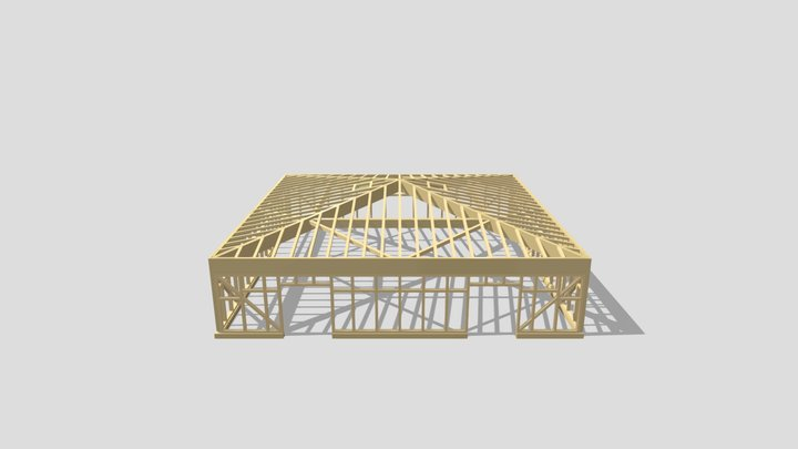 Struttura industriale in legno a telaio 3D Model