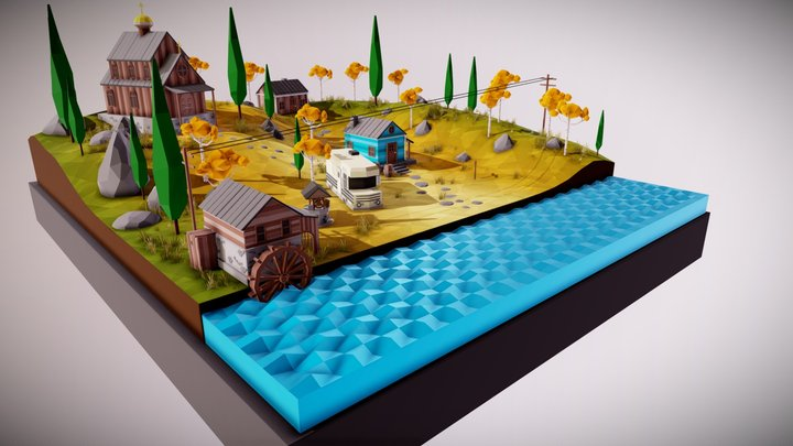 Low Poly Mini Village 3D Model
