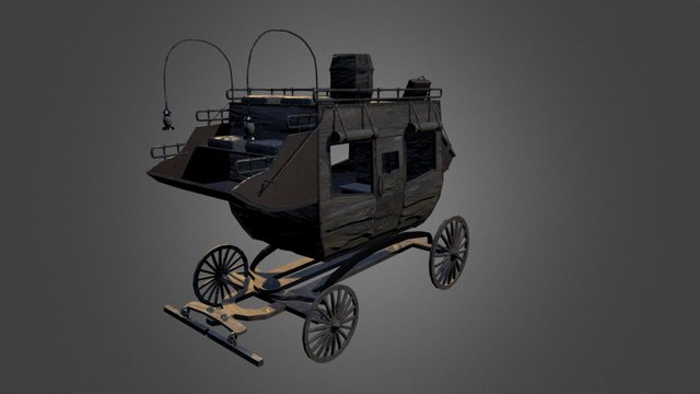 Low Poly Wagon 3D Model