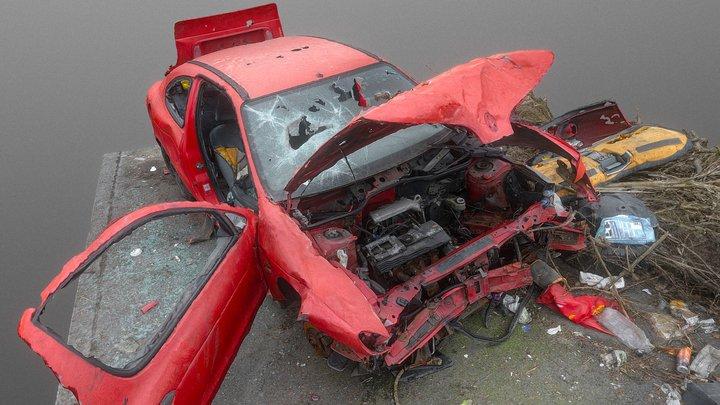 Red car wreck 3D Model