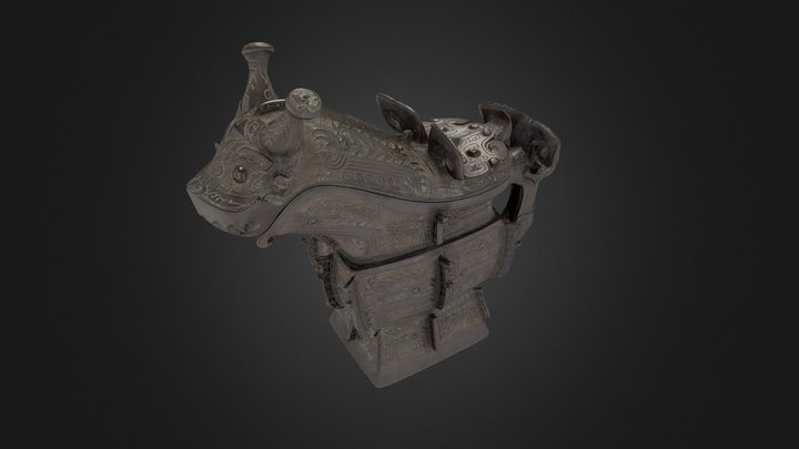 Pouring vessel with dragon-head lid (guang) 3D Model