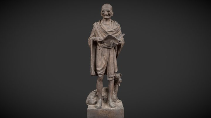 Gandhi with goat. (Delhi Museum of Gandhi) 3D Model