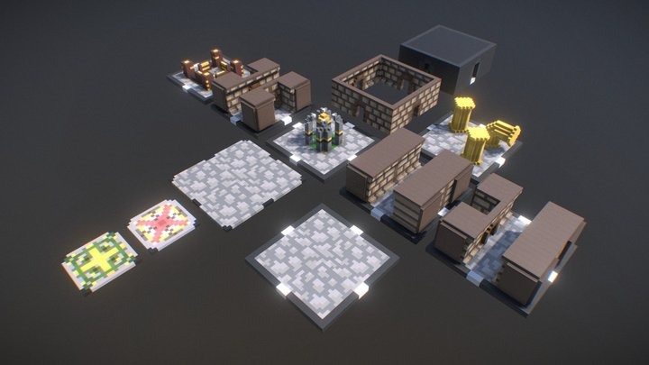 Dungeon Master - Basic Voxel Dungeon Map Pack 3D Model