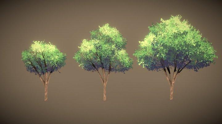 Anime Trees 3D Model