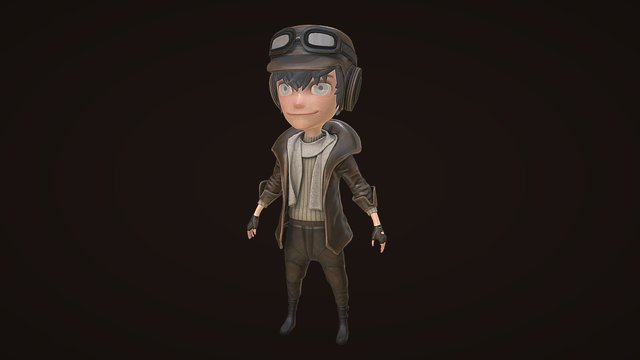 Stylized Pilot Character Model 3D Model