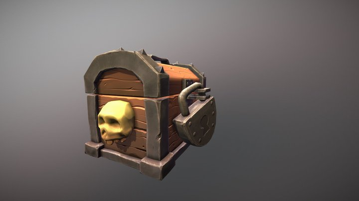 Stylized pirate chest 3D Model