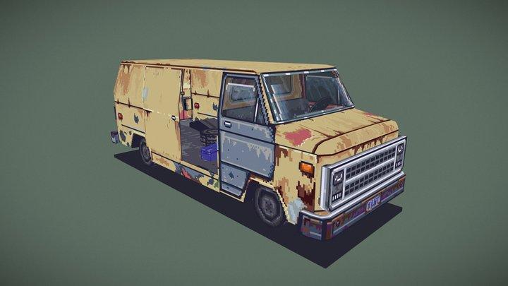 Rusty Van - 3D Pixel Art 3D Model