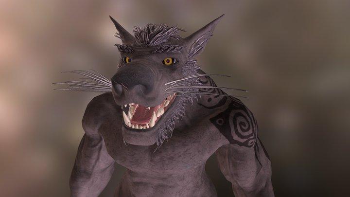 Dwarven Wolfman Unarmored 3D Model