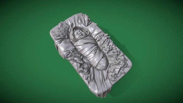 Baby Jesus in a manger 3D Model