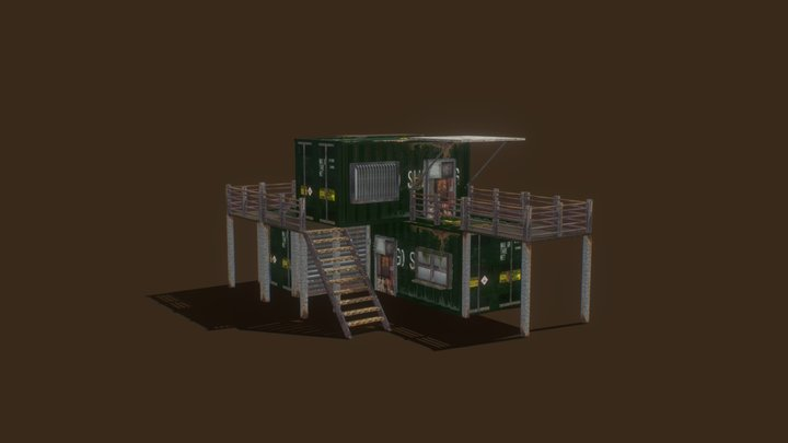 Post Apocalyptic Shipping Container Building 3D Model