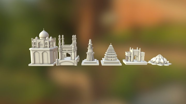 Monuments Of India Chess Set 3D Model