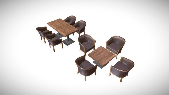 Table Chair Restaurant Pack Low poly models 3D Model