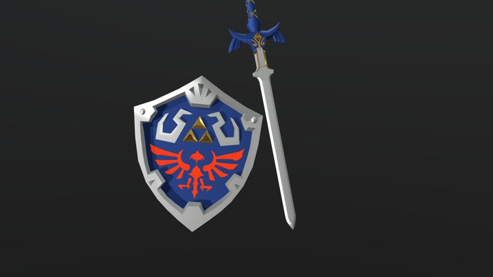 Master Sword And Hylian Shield 3D Model