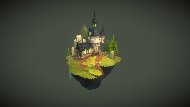 Low Poly Hand Painted Texture House 3D Model