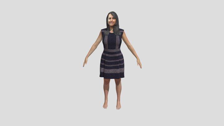Yologram SM AVS Grey Dress A Pose (Foot Texture) 3D Model