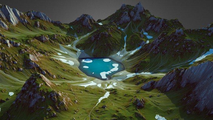 Alpine Mountain Lake (World Machine) 3D Model