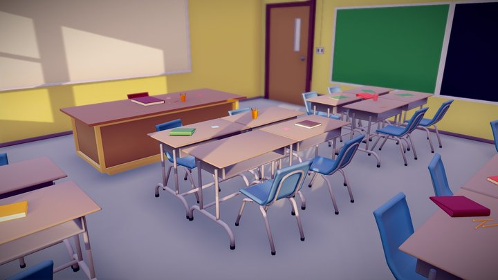 Low Poly ClassRoom 3D Model