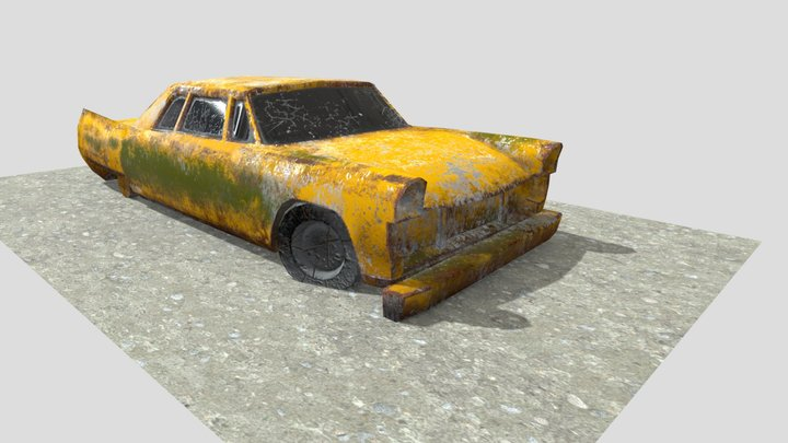 3D Model And Textured Of Old Rusty Car 3D Model
