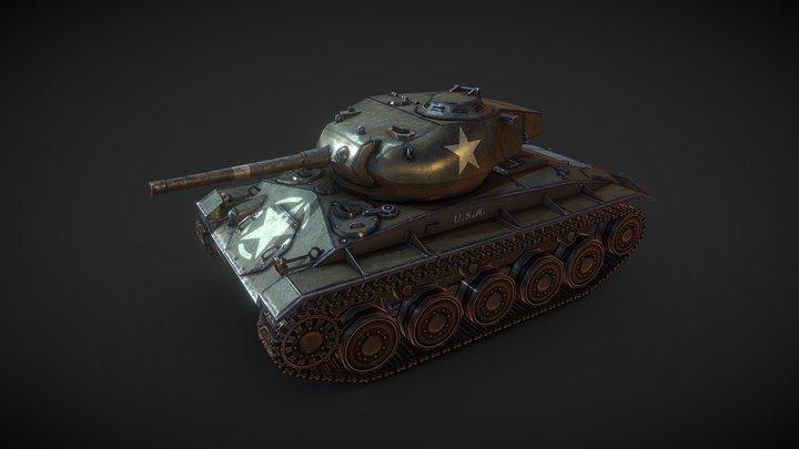 Lowpoly M24 Chaffee 3D Model