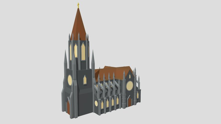 Stylized Gothic Church 3D Model