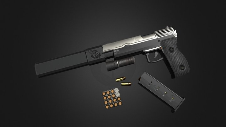 Pistol and attachments 3D Model