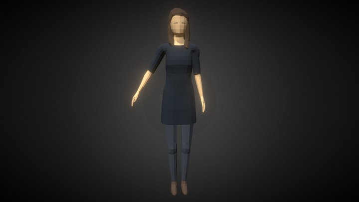 Low-poly Woman Casual 3D Model