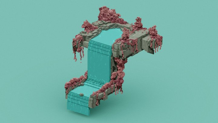 waterfall paradise. (Free) 3D Model