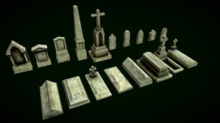 Tombs pack. Modular cemetery 3D Model