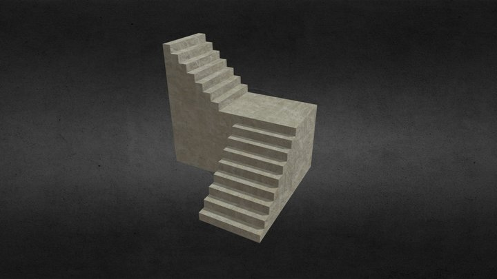 Concrete Stairs 2 3D Model