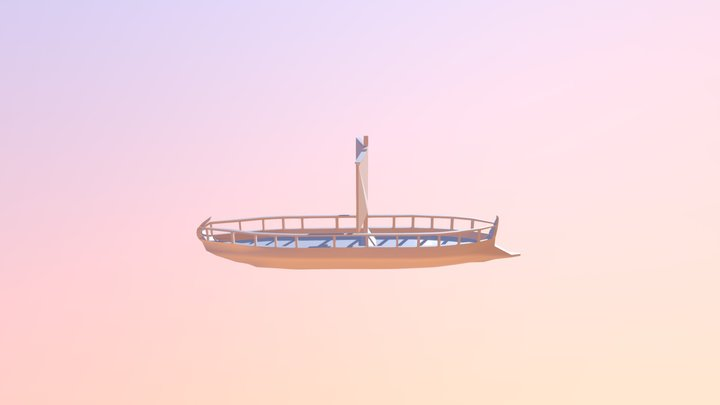Low poly Trireme 3D Model