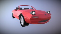 Low Poly Classic Mazda Miata Cabriolet 3D Model
