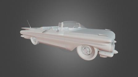 Vintage Car - Wireframe 3D Model