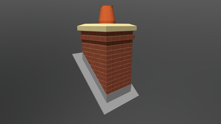 665 x 665 x 1190mm Mono Pitch Chimney 3D Model