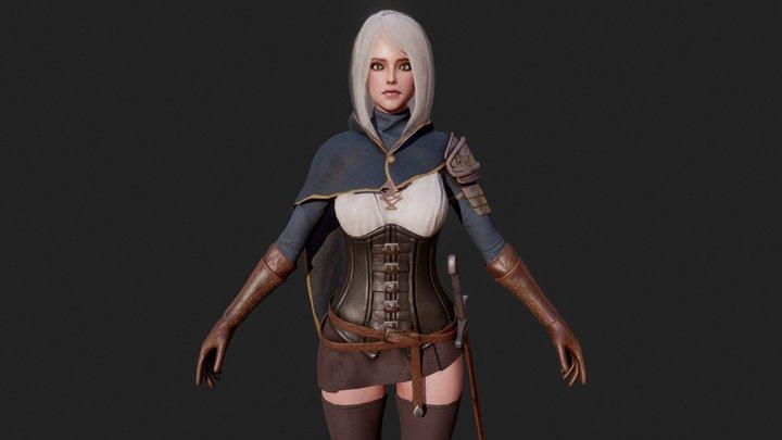 GAME-READY Swordsman Girl 3D Model