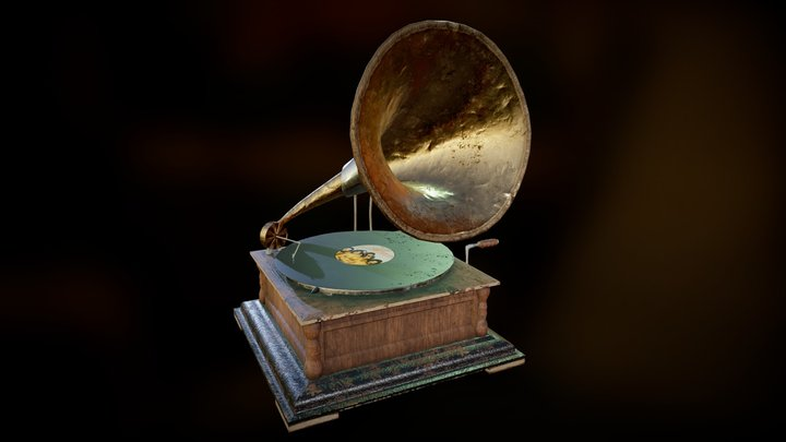 [Animation] Old Gramophone 3D Model