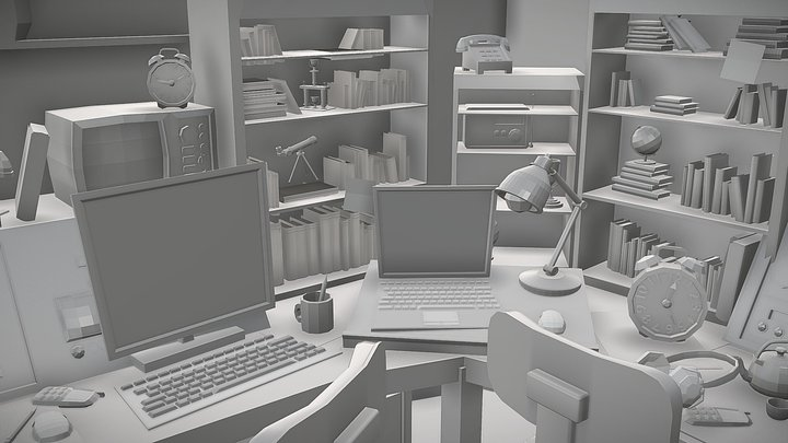 Low Poly Newsroom 3D Model