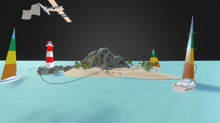 Isla Roller Coaster Verano 3D Model